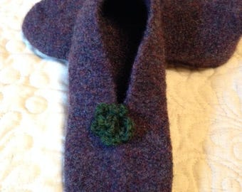 Purple Felted Wool Slipper Size Small