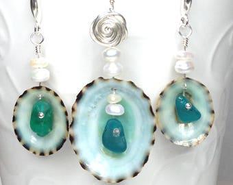 Sea Glass Pendant, Sea Glass Earrings, Sea Shell Jewelry, Sea Shell Pendant, Limpet, Limpet Jewelry, Sea Glass Jewelry, Sea Glass, Sea Shell