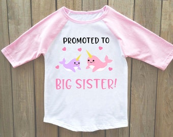Big sister announcement shirt, big sister shirt, big sister announcement, narwhal shirt, announcement, big sister, pregnancy announcement