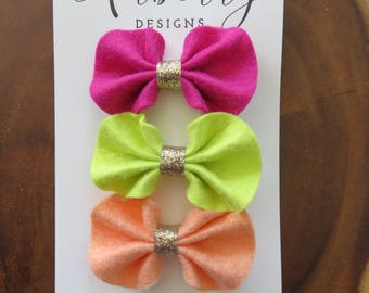 Pink, Neon Yellow/Green , and Peach Ruffle Felt Bow Hair Clip Set