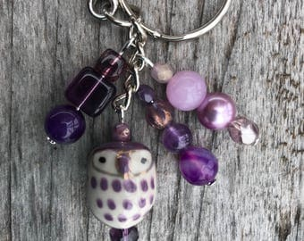 Keychains for Women, Owl Keychain, Owl Bag Charm, Owl Gifts, Purse Charms for Handbags, Beaded Keychain, Bookbag Charm, Beaded Bag Charm