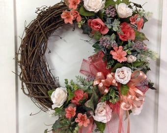 Spring Mothers Day wreath for door, front door decor Summer All season everyday front door wreath white, peach, coral grapevine wreath