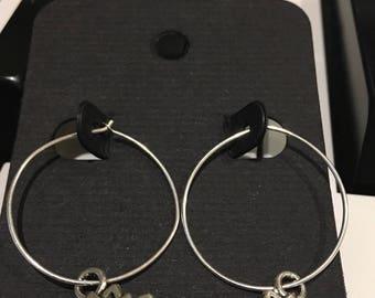Silver Lotus Hoop Earrings