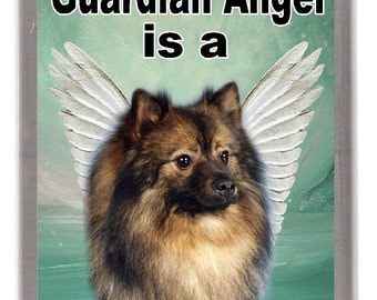 """German Spitz Dog Fridge Magnet """"My Guardian Angel is a German Spitz"""". Great Gift for any Dog Lover"""