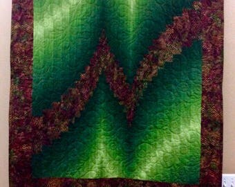 Two Fabric Bargello Quilt or Wall Hanging