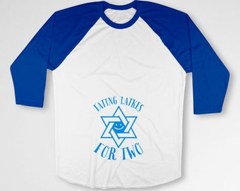Hanukkah Pregnancy T Shirt Gifts For Expecting Mothers Maternity Outfit Chanukah TShirt Pregnant Clothes 3/4 Sleeve Raglan Sleeves TEP-514