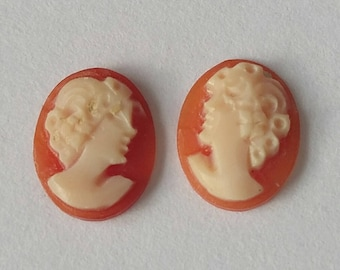 Pair of Oval Victorian Lady Vintage Hand Carved Shell Cameos Unmounted Size 10x8mm