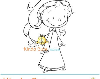 Princess digital stamp (black and white only). Cute girl digital stamp. Princesses. Girl with long hair. Princess coloring page.