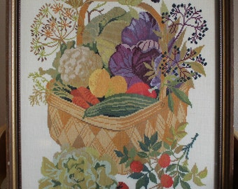 Large piece of vintage crewel embroidery, fruits and vegetables