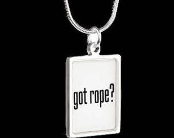 got rope? Silver Necklace with Portrait Pendant