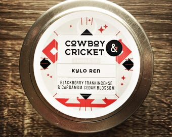 Kylo Ren - *LIMITED EDITION* - Blackberry Frankincense and Cardamom Cedar Blossom  - Handmade Scented Soy Candle - 4 oz tin with lid