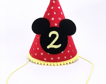 Mickey mouse party hats | second birthday party hat | 2nd Birthday Mickey Mouse Party Hat  | 2nd Birthday | Cake Smash Photoprop | Party Hat