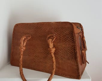 Vintage Leather Hand Bag Purse 60s Reptile Box Bag with Tassels