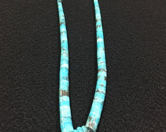 17 inch Santa Domingo Traditional Turquoise Jocla Necklace, adjustable to 20 inches