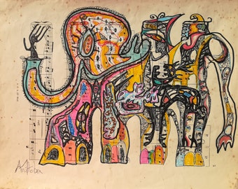 elephantesskeu?... original and unique print on old sheet music, delivered with certificate of authenticity