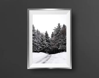 Printable Forest Art Pine Tree Forest Black And White Winter Photography Nordic Landscape Nordic Wall Decor Scandinavian Art Forest Print