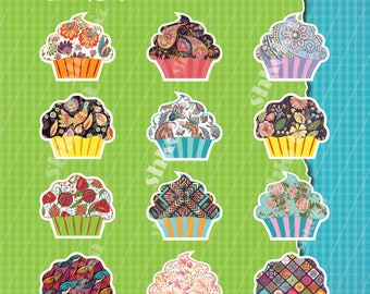 Digital Clipart cupcakes - vintage pattern cupcakes. PNG, high resolution, Instant Download, cupcakes clipart, craft, scrapbook, printable