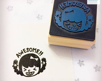 Hand Carved Awesome Girl Rubber Stamp