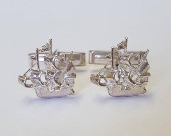 Galleon Cufflinks in .925 Sterling Silver