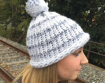 Handmade Black and White Hat with Pom Pom