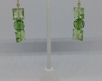 Double Green Dangle Earrings