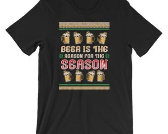 Ugly Beer Christmas Sweater Unisex Shirt Beer is the Reason for the Season T-Shirt