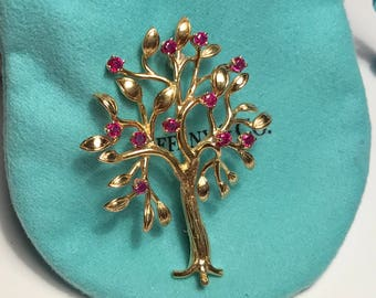 """Tiffany & Co 18 Kt Gold """"TREE OF LIFE"""" Brooch Pin with 11 Ruby Apples"""