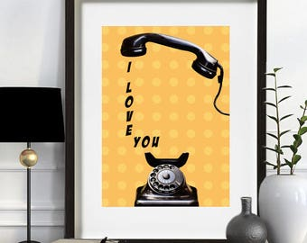 """I Love you""""ilustration, digital print, quote telephone, home decor poster, yellow poster, printable, ink art, original affiche, text, wall art, Inkyet"""