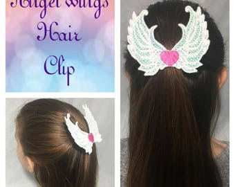 Angel wings iridescent hair clip
