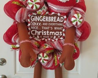 Gingerbread Man Wreath, Deco Mesh Wreath, Christmas Wreath, Front Door Wreath, Holiday Wreath, Home Decor
