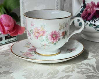 Elite Light Pink Flowers Teacup and Saucer Fine Bone China England