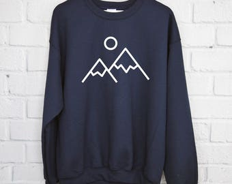 Mountain Sweatshirt, Hiking Shirt, Adventure Shirt, Nature Shirt, Mountains Shirt, Happy Camper, Travel, Outdoors Shirt, The Mountains Are