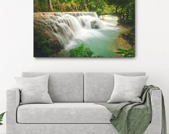 Laos Waterfall Canvas Print // Large Canvas Wrap, Nature Photography, Asia Decor Wall Art, Fine Art Photo, Kuang Si Falls Office Decor