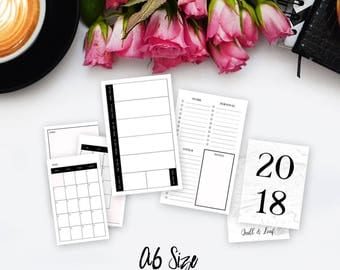 A6 TN INSERT >> 2018 Planner (Chic Minimalist Design) >> Week on Two Pages (W2P) Layout >> January - March (Q1) >> Quill & Leaf