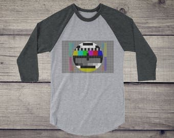 TV Test pattern 3/4 sleeve raglan shirt | Sheldon Cooper t-shirt | test card tee | Short-Sleeve Unisex T-Shirt for nerds geeks | television