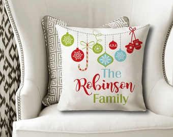 Christmas Family PILLOW, Christmas Ornament Pillow, Personalized Christmas Gift, Family Name Pillow-Christmas Pillow Cover or With Insert