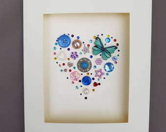 Blue Button Art Heart Card #Valentine's #Mother's day #Birthday #Wedding #Anniversary #Engagement #I love you