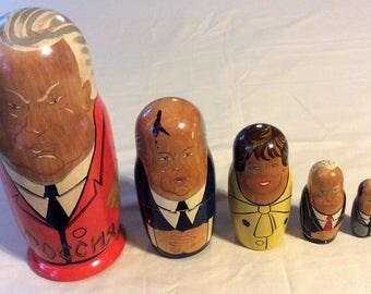 Vintage Russian Political Matryoshka Nesting Dolls - Set of 5