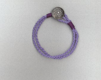 Handmade purple braided hemp wrap bracelet with button closure by TwistedandKnottyUS