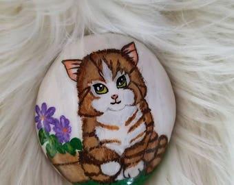 Cat Painted Rock , home decor, rock painting, decoration