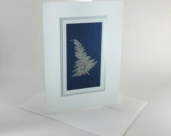 Silver fern on dark blue embossed Christmas card, individually handmade: peace on earth, holiday card, winter, peace, SKU PEA71003