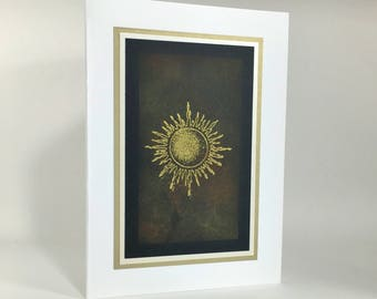 Solstice card: gilded sun on earth tones, individually handmade, not a print, happy solstice, fine cards, note cards, A7, SKU SOA71010