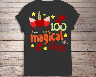 100 Magical days svg, 100th day of school svg, Unicorn svg, SVG Dxf EPS Png Jpg Vector Art Clipart, Cut Print File Cricut & Silhouette Decal