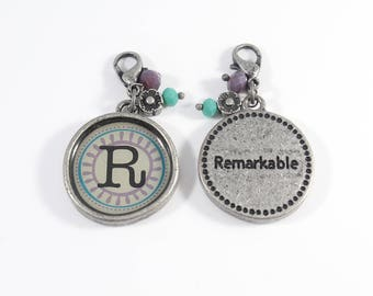 R Initial Charms, Initial Charms, Letter Charms, Initial Pendants,  Letter Pendants