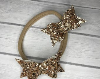 Gold glitter bows, sparkle bows, baby bows, toddler bows, baby head wraps, baby headbands, glitter clips, gold clips, gold barrettes, gold