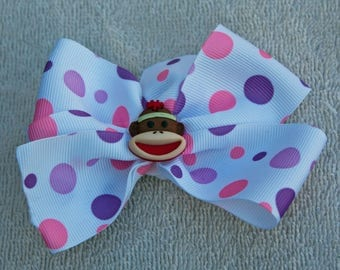 Hair Bow, Alligator Clip, Pink and Purple, Girls Infants Toddlers Hair Bow