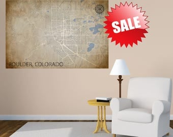 BOULDER Colorado Poster City Map Boulder Colorado Art Boulder Colorado CANVAS Map Vintage Map City Home Decor Gift Wall art CO Boulder