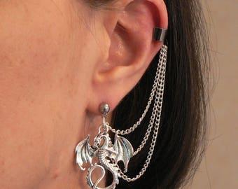 Dragon Ear-chain Ear Cuff Earring Fantasy Cosplay Silver-plated Chains