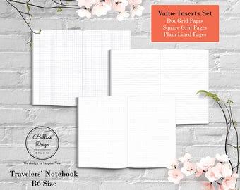 B6 Planner Inserts, B6 Printable Inserts, B6 TN Size, Dot Grid Inserts, Grid Insert, Lined Printable Paper, Foxy Fix No 5, Insert TN Planner