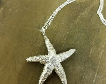 Sterling Silver Natural Starfish Necklace